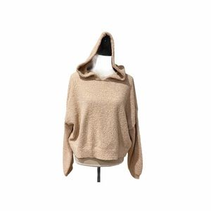 Kaisely Oversized Cropped Hooded Teddy Sweater(L)